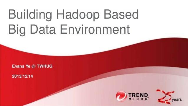 Building Hadoop Based Big Data Environment Evans Ye @ TWHUG  2013/12/14