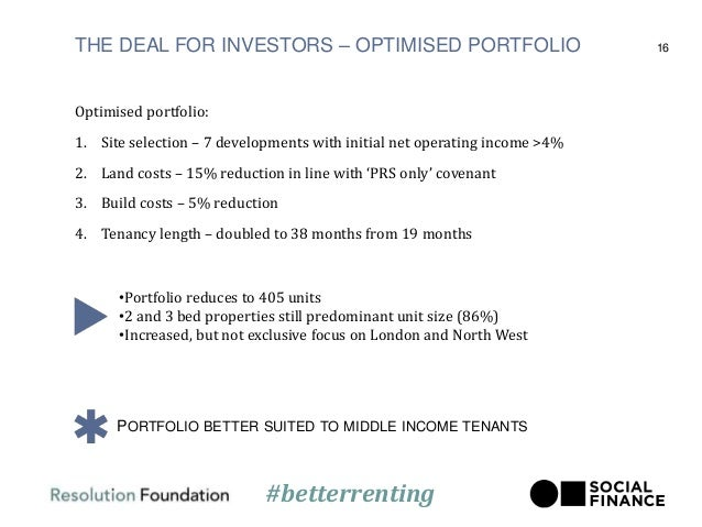 THE DEAL FOR INVESTORS – OPTIMISED PORTFOLIO Optimised portfolio: 1. Site selection – 7 developments with initial net oper...