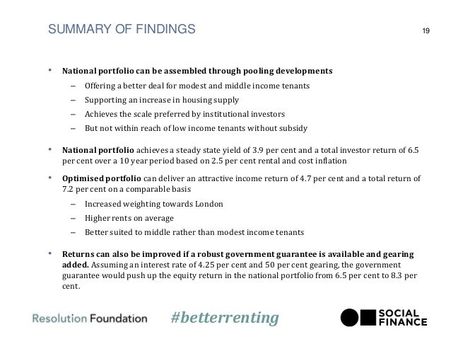 SUMMARY OF FINDINGS • National portfolio can be assembled through pooling developments – Offering a better deal for modest...