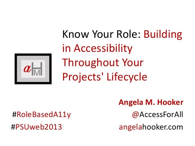 Know Your Role: Buildingin AccessibilityThroughout YourProjects LifecycleAngela M. Hooker#RoleBasedA11y @AccessForAll#PSUw...
