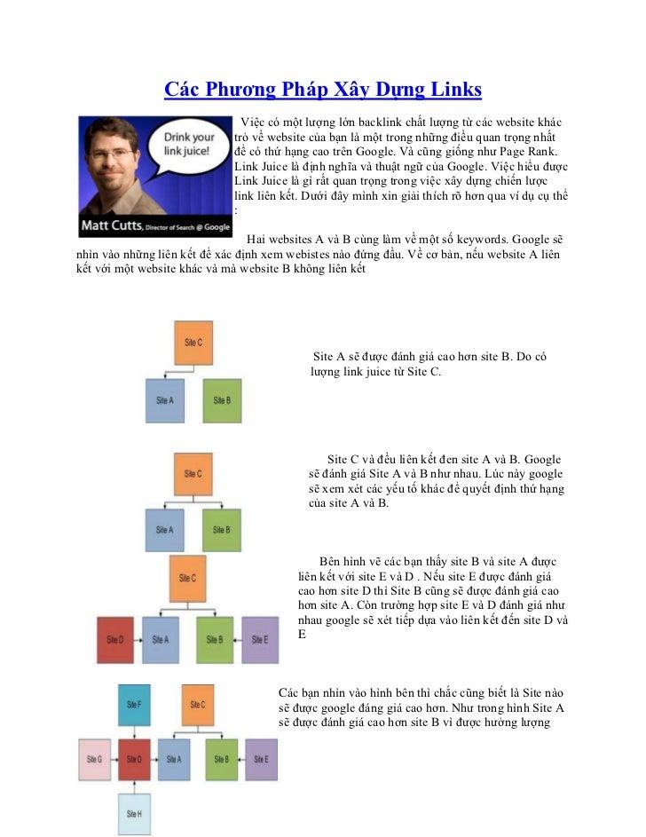 Các Phương Pháp Xây Dựng Links                               Việc có một lượng lớn backlink chất lượng từ các website khác...