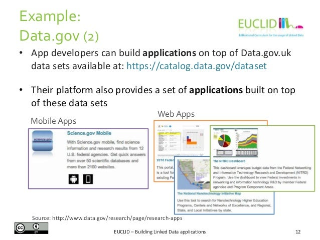 Example: Data.gov (2) • App developers can build applications on top of Data.gov.uk data sets available at: https://catalo...