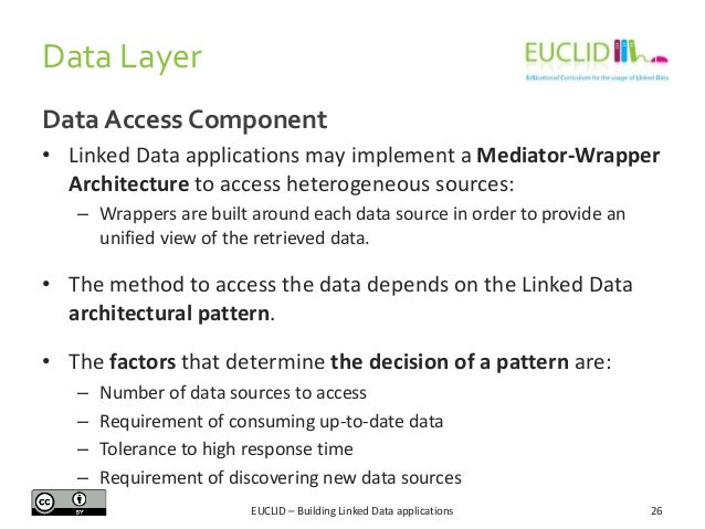 Data Layer Data Access Component • Linked Data applications may implement a Mediator-Wrapper Architecture to access hetero...
