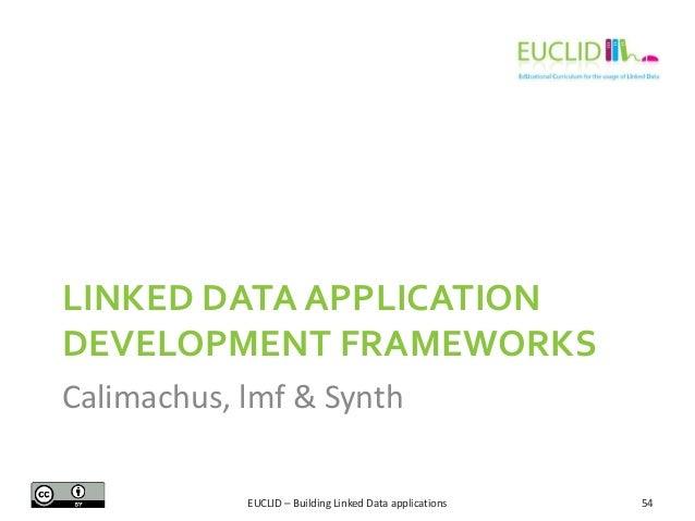 LINKED DATA APPLICATION DEVELOPMENT FRAMEWORKS Calimachus, lmf & Synth EUCLID – Building Linked Data applications  54