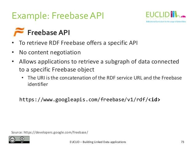 Example: Freebase API Freebase API • To retrieve RDF Freebase offers a specific API • No content negotiation • Allows appl...