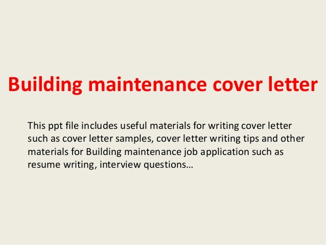 Exceptional Building Maintenance Cover Letter This Ppt File Includes Useful Materials  For Writing Cover Letter Such As ...