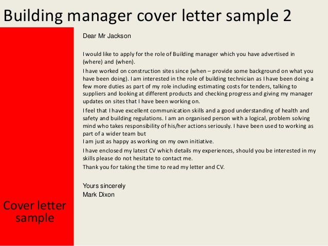 Building manager cover letter