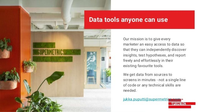 Data tools anyone can use Our mission is to give every marketer an easy access to data so that they can independently disc...