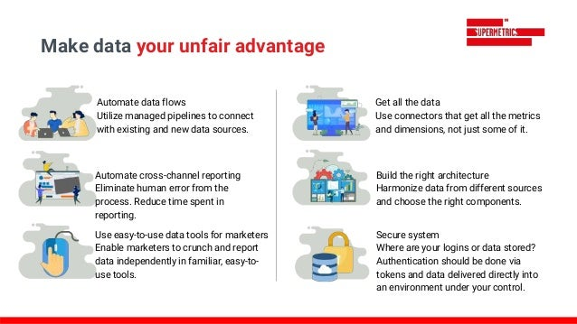 Automate data flows Utilize managed pipelines to connect with existing and new data sources. Automate cross-channel report...
