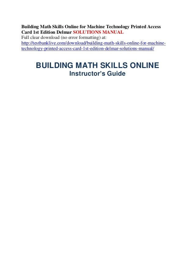 Building math skills online for machine technology printed access car…