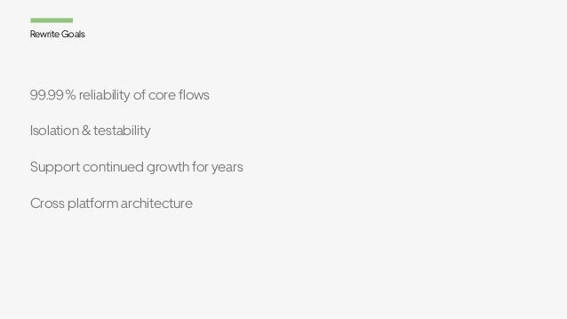99.99% reliability of core flows Isolation & testability Support continued growth for years Cross platform architecture Re...
