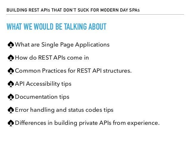 Building REST APIs that don't suck for modern day SPAs Slide 3