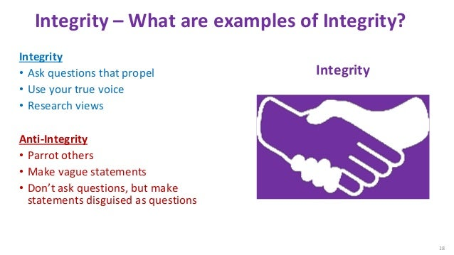 Integrity – What are examples of Integrity? Integrity • Ask questions that propel • Use your true voice • Research views A...