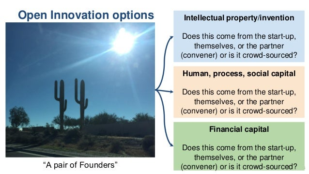Open Innovation options 34 Intellectual property/invention Does this come from the start-up, themselves, or the partner (c...