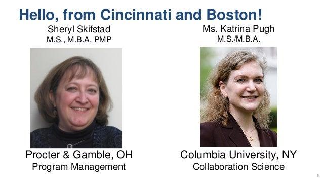 Hello, from Cincinnati and Boston! 5 Sheryl Skifstad M.S., M.B.A, PMP Ms. Katrina Pugh M.S./M.B.A. Procter & Gamble, OH Pr...