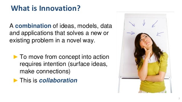What is Innovation? A combination of ideas, models, data and applications that solves a new or existing problem in a novel...