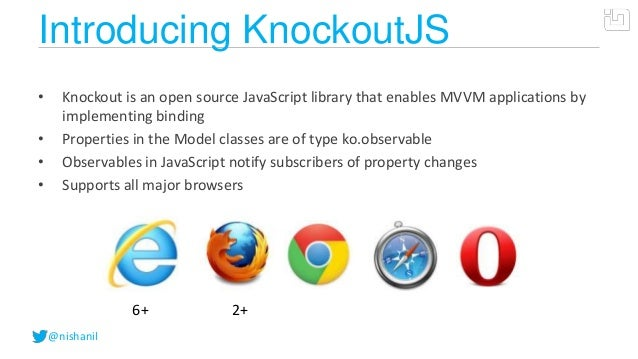 @nishanilIntroducing KnockoutJS• Knockout is an open source JavaScript library that enables MVVM applications byimplementi...