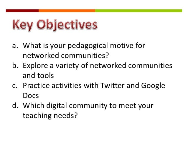 a. What is your pedagogical motive for networked communities? b. Explore a variety of networked communities and tools c. P...