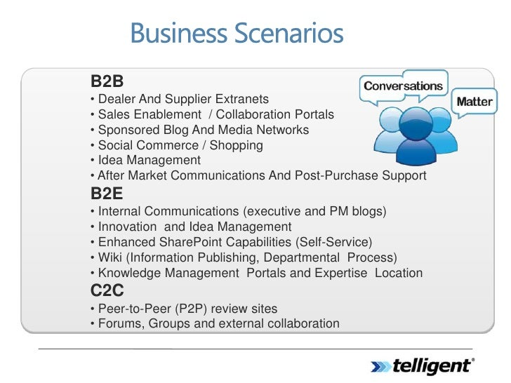 B2B • Dealer And Supplier Extranets • Sales Enablement / Collaboration Portals • Sponsored Blog And Media Networks • Socia...