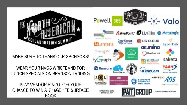 MAKE SURE TO THANK OUR SPONSORS! WEAR YOUR NACS WRISTBAND FOR LUNCH SPECIALS ON BRANSON LANDING PLAY VENDOR BINGO FOR YOUR...