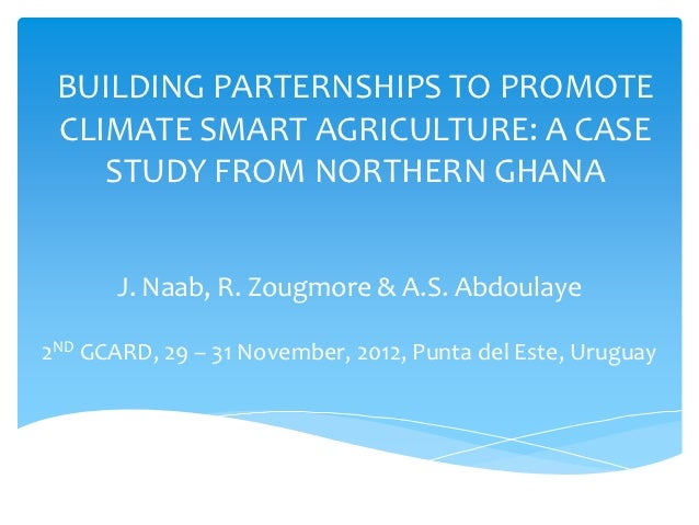 BUILDING PARTERNSHIPS TO PROMOTE CLIMATE SMART AGRICULTURE: A CASE    STUDY FROM NORTHERN GHANA       J. Naab, R. Zougmore...