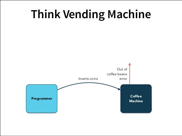 Think Vending Machine  Service  Guy  Coffee  Inserts coins  Out of  coffee beans  error  Programmer Machine