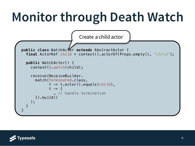 Monitor through Death Watch  X  public class WatchActor extends AbstractActor {  final ActorRef child = context().actorOf(...