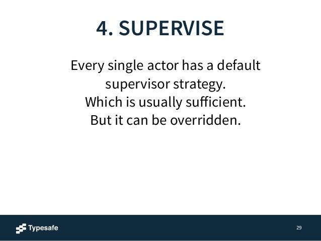 4. SUPERVISE  29  class Supervisor extends Actor {  override val supervisorStrategy =  OneForOneStrategy(maxNrOfRetries = ...