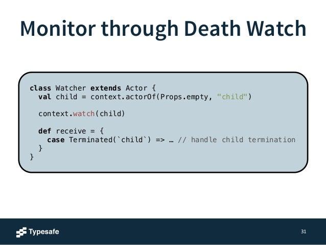 Monitor through Death Watch  31  Create a child actor  Watch it  class Watcher extends Actor {  val child = context.actorO...