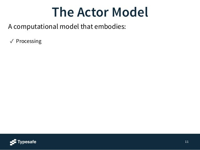 11  The Actor Model  A computational model that embodies:  ✓ Processing  ✓ Storage