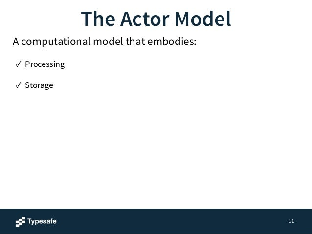 11  The Actor Model  A computational model that embodies:  ✓ Processing  ✓ Storage  ✓ Communication