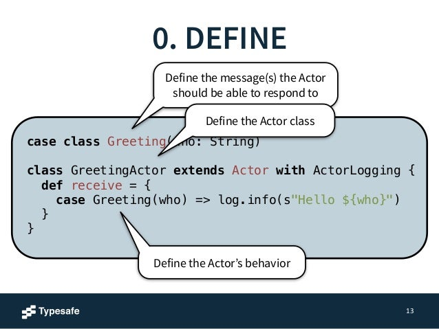 1. CREATE  case class Greeting(who: String)  !  class GreetingActor extends Actor with ActorLogging {  def receive = {  ca...