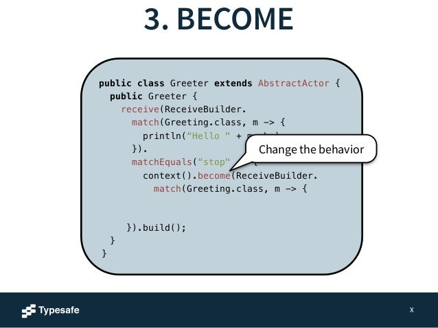 3. BECOME  X  public class Greeter extends AbstractActor {  public Greeter {  receive(ReceiveBuilder.  match(Greeting.clas...