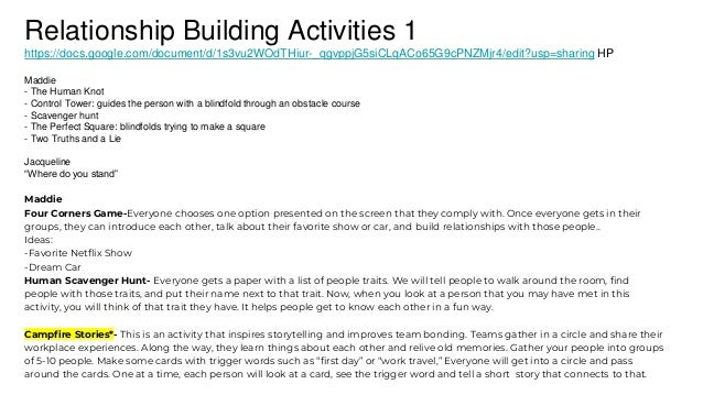 Relationship Building Activities 3 Game of Possibilities Time: 5-6 minutes Number of Participants: One or multiple small g...