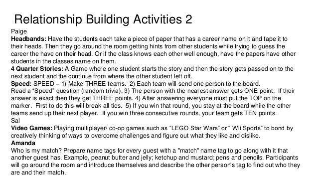 Relationship Building Activities 4 Ally - Matching game: Hand out cards to everyone and have each card with a match like d...