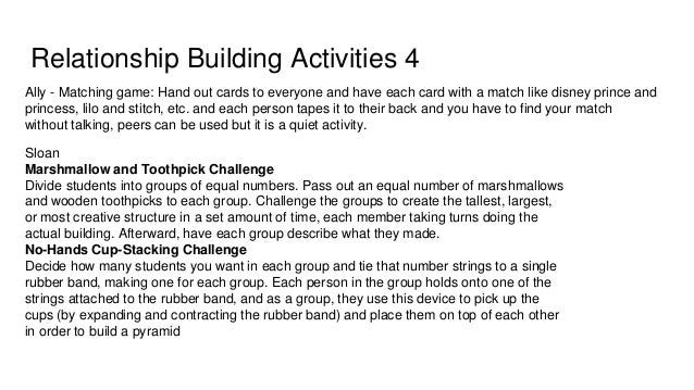Relationship Building Activities 6 Passion project ● Match up into small groups/Partners and talk about your hobbies or pa...