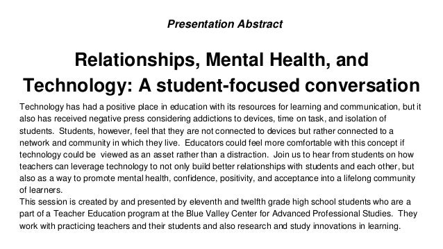 Relationships, Technology, and Mental Health