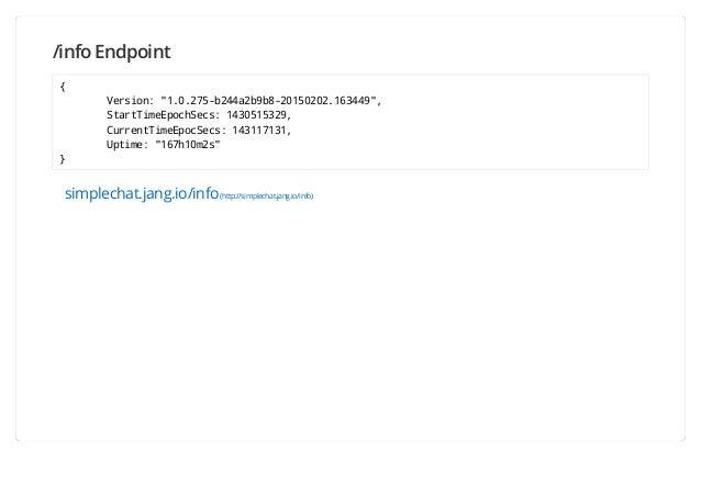 "/info Endpoint { Version: ""1.0.275-b244a2b9b8-20150202.163449"", StartTimeEpochSecs: 1430515329, CurrentTimeEpocSecs: 14311..."