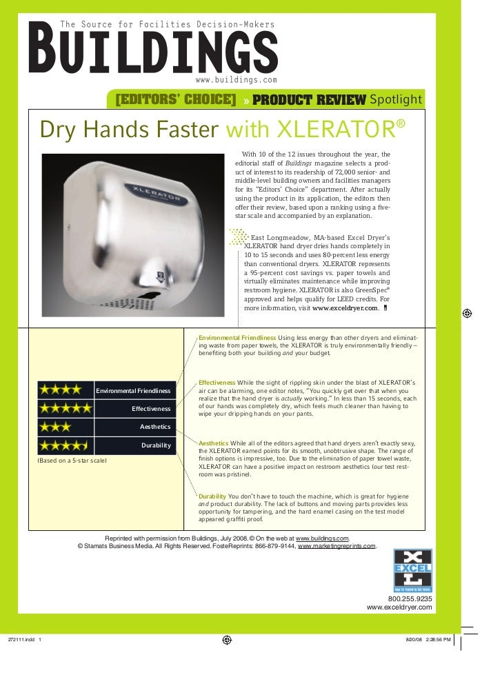 [EDITORS' CHOICE] » PRODUCT REVIEW SpotlightDry Hands Faster with XLERATOR®                                               ...