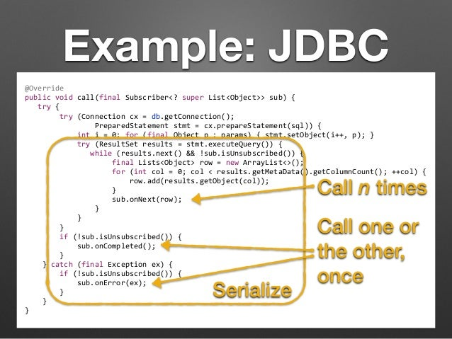 Example: JDBC  @Override  public  void  call(final  Subscriber<?  super  List<Object>>  sub)  {  try  {  try  (Connection ...