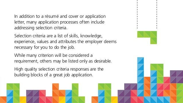 addressing selection criteria in cover letter - how job selection criteria is like tetris