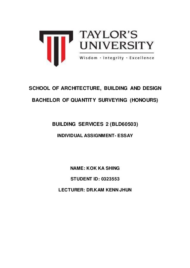 building services essay assignment  building services 2 essay assignment 1 school of architecture building and design bachelor of quantity surveying honours building services