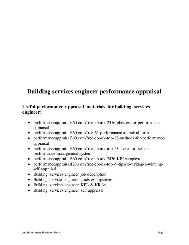 Building services engineer performance appraisal