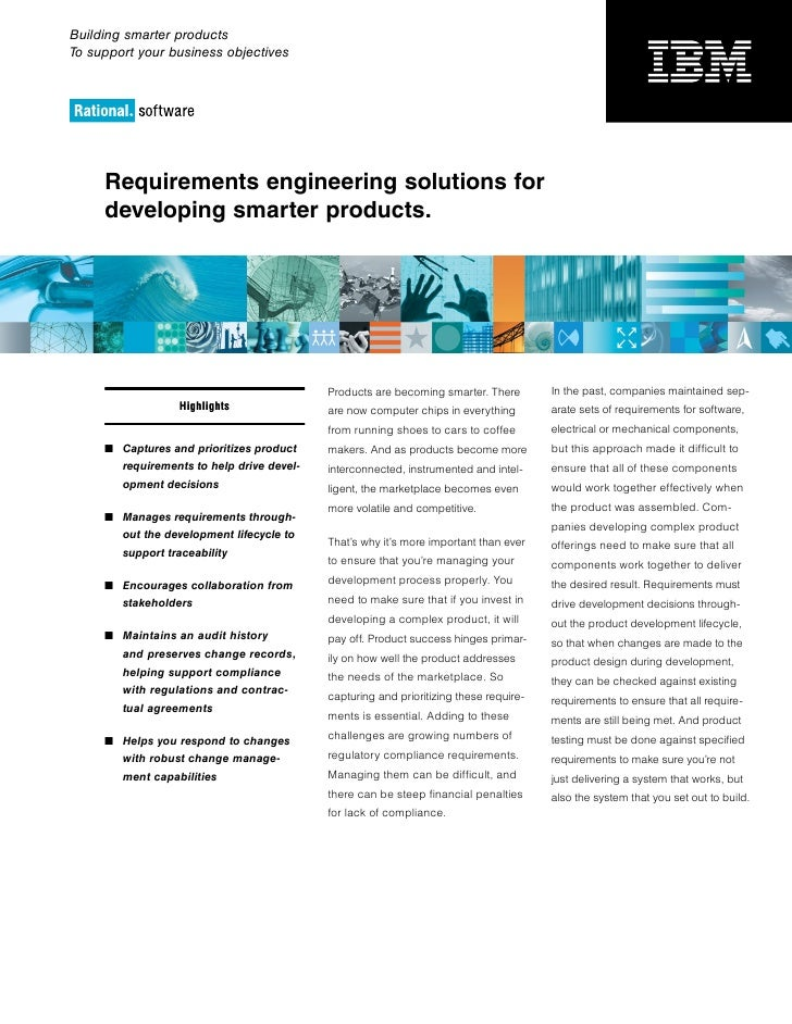 Building smarter productsTo support your business objectives     Requirements engineering solutions for     developing sma...