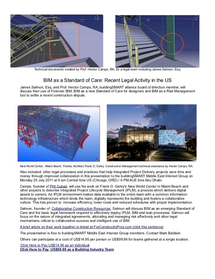 Technical documents created by Prof. Hector Camps, RA, for a legal team including James Salmon, Esq.                 BIM a...