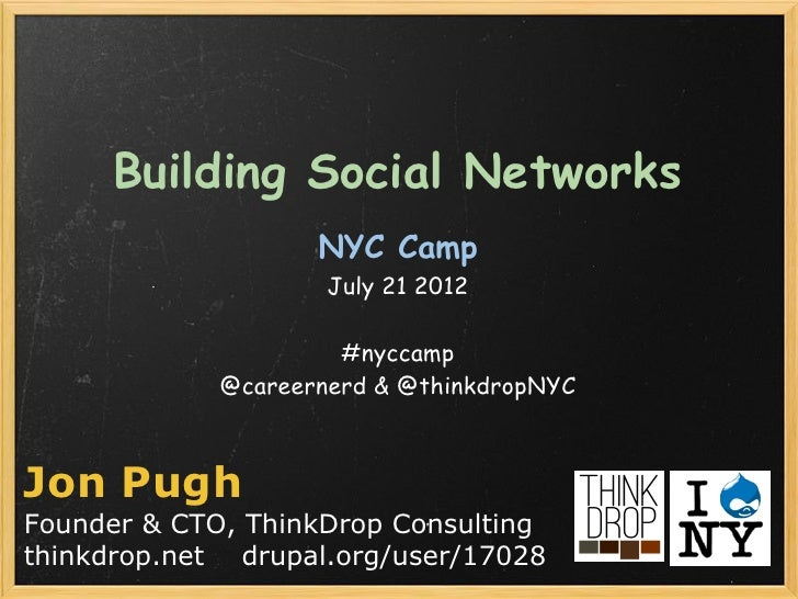 Building Social Networks                    NYC Camp                     July 21 2012                      #nyccamp      ...