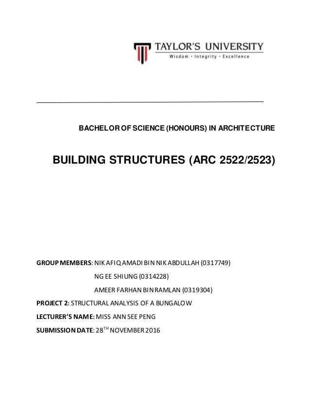 BACHELOR OF SCIENCE (HONOURS) IN ARCHITECTURE BUILDING STRUCTURES (ARC 2522/2523) GROUP MEMBERS: NIK AFIQ AMADI BINNIK ABD...