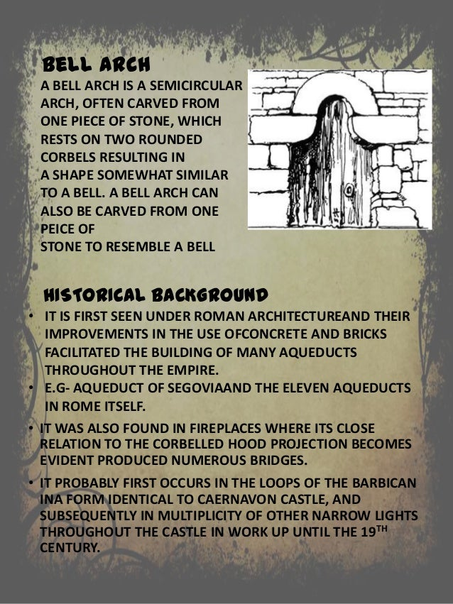 A BELL ARCH IS A SEMICIRCULAR ARCH, OFTEN CARVED FROM ONE PIECE OF STONE, WHICH RESTS ON TWO ROUNDED CORBELS RESULTING IN ...