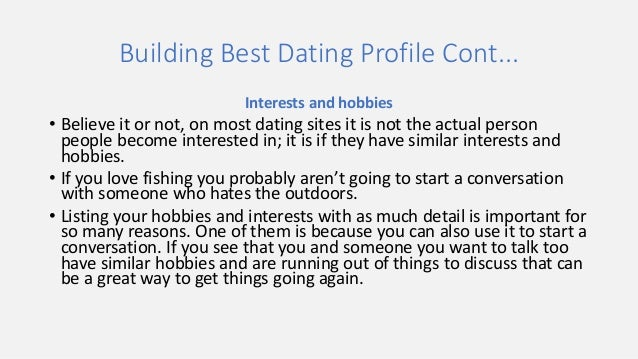 Interests and hobbies for dating site