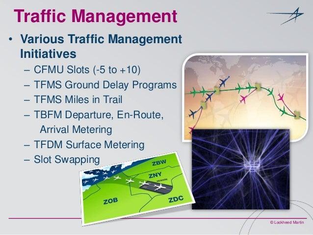 Traffic Management • Various Traffic Management Initiatives – – – –  CFMU Slots (-5 to +10) TFMS Ground Delay Programs TFM...